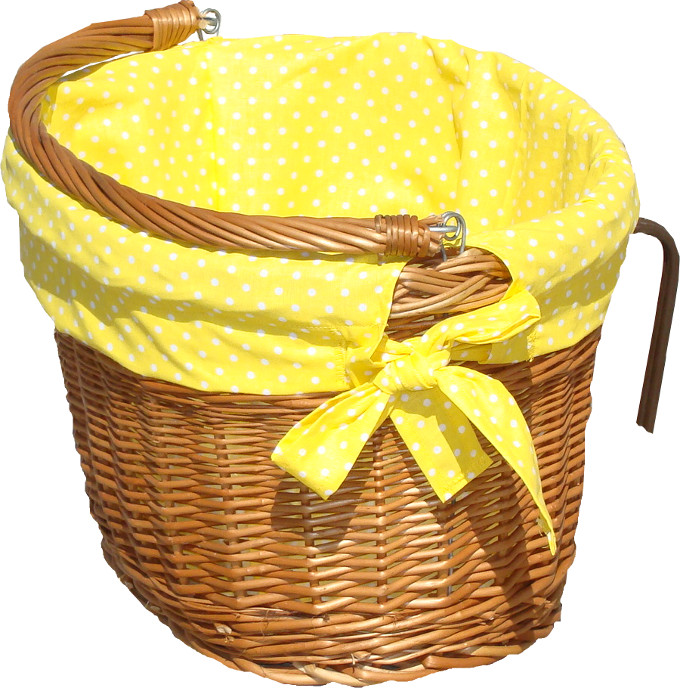 Wspaniały Obszycie do kosza rowerowego żółte w groszki - wyroby z wikliny EH81
